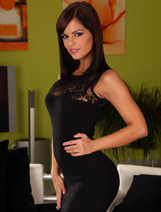 Black Angelika in sexy black dress