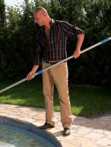 Pool guy doing his lame job