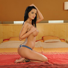 Black Angelika topless and ready for some action